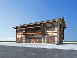 川西风格民居建筑模型