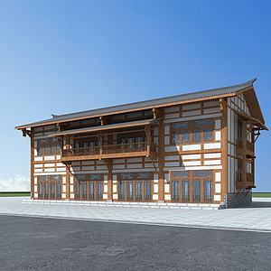 川西風格民居建筑模型3d模型