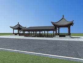 中式建筑廊亭模型