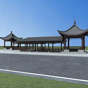 中式建筑廊亭模型3d模型