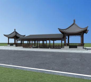 中式建筑廊亭