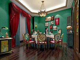 古典风情座椅壁画餐厅模型