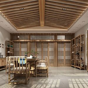 古式人字吊顶茶室茶屋会所模型3d模型