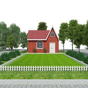 公园景观小屋草地模型