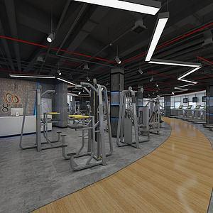 健身房健身區有氧訓練區模型3d模型