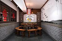 面馆餐厅中式门头3d模型