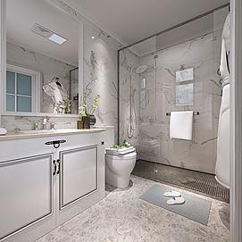 现代浴室卫生间模型