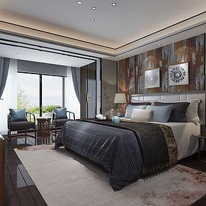 中式卧室主卧3d模型