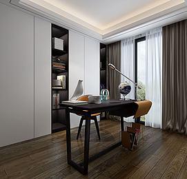 现代简约书房书桌书柜模型