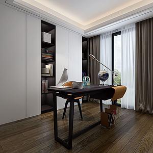 現代簡約書房書桌書柜模型3d模型