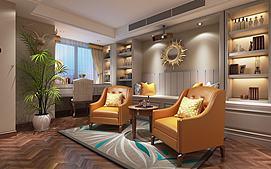 现代元素客厅休息室模型