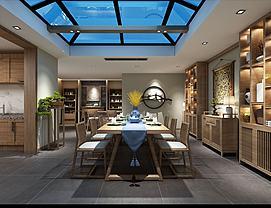 中式家具组合餐厅模型