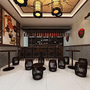 古典小酒馆木墩3d模型