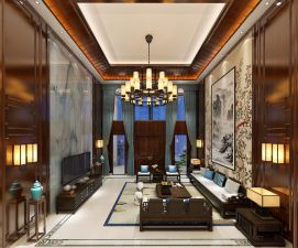 中式别墅客厅餐厅模型