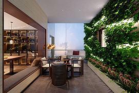 现代绿植休闲茶室模型