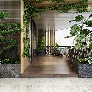 3d綠植觀賞區茶室竹墻花藤模型