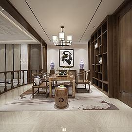 简约茶座茶室模型