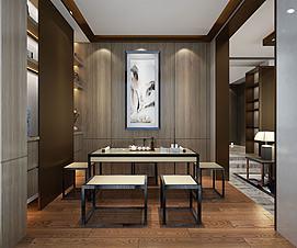 中式书画室茶室模型