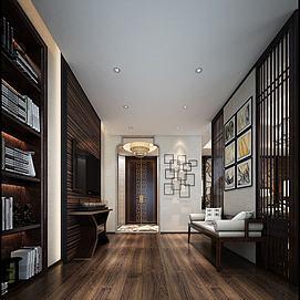 古木色客厅壁画书架休息区模型