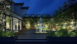 别墅绿植景观区模型