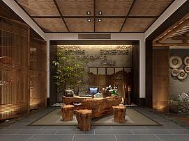 中式茶室会客厅休息区模型