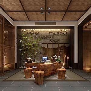 3d中式茶室會客廳模型