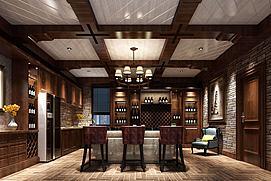 中式古色大餐厅模型