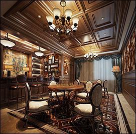欧式酒吧酒台酒桌模型