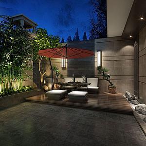 別墅戶外綠植庭院茶室模型3d模型