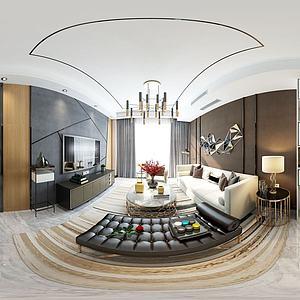 现代风格餐厅客厅组合3d模型