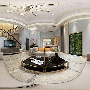 現代簡約客廳綠植背景門窗模型3d模型