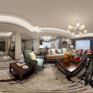 新中式客厅地板沙发模型3d模型