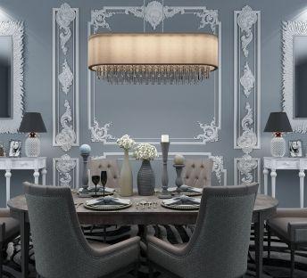 灰色餐桌吊灯背景墙组合