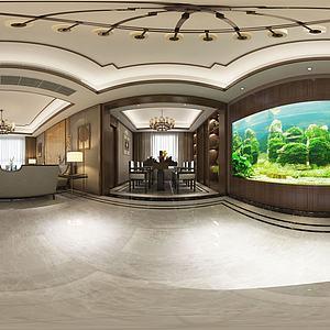 3d中式客厅海洋绿植墙模型