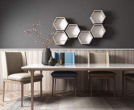 现代北欧餐桌椅模型