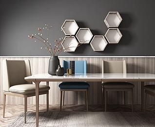 现代北欧餐桌椅3d模型