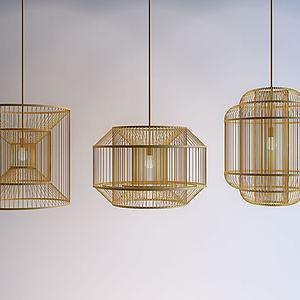 新中式丝竹吊灯3d模型