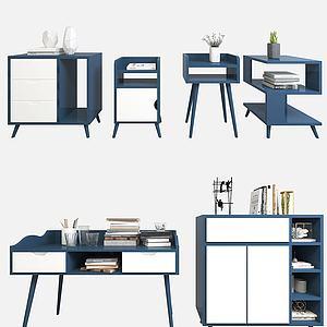 柜子书桌边柜3d模型