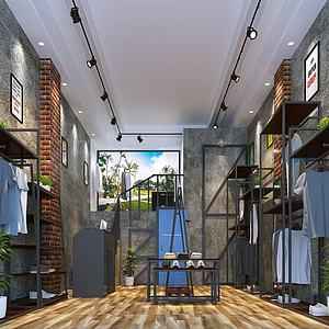 3d男士服装店模型