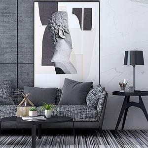 简约沙发茶几人物壁画3d模型