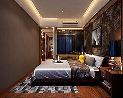 简约卧室素色壁纸模型3d模型