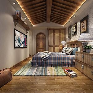 簡約臥室書房模型3d模型