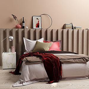 北欧卧室床模型