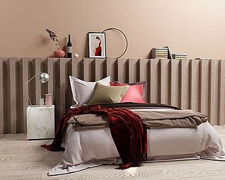 3d北欧卧室床模型