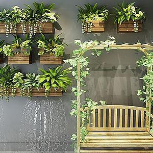 户外盆栽植物秋千组合模型