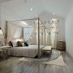 3d中式简约纱帘床模型