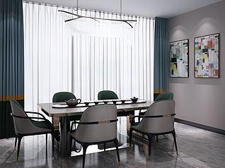 北欧餐桌椅吊灯3d模型