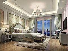中式花朵壁纸主题卧室模型3d模型