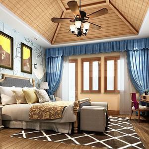 創意閣樓吊頂臥室模型3d模型
