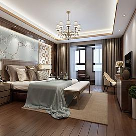 现代简约卧室金色壁画造型模型